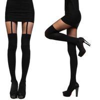 модные колготки девушки оптовых-Wholesale-Fashion Women Girls Temptation Sheer Mock Suspender Tights Pantyhose New Arrival
