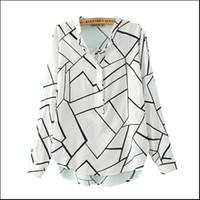 Wholesale Ol Style Long Sleeve Chiffon - Women spring summer irregular plaid print OL blouse vintage stand collar long sleeve shirts casual European style slim brand tops