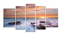 impressionistische malereien großhandel-5 Bild CombinModern Dekorative Kunst Wandgemälde Leinwand Druck Impressionist Landschaft Bilder Kombination für Wohnzimmer Und Büro