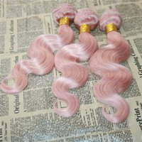 Body Wave Pink cheveux humains teigne Rose Pink Brazilian Virgin Hair Bundles 3pcs / lot Pink Hair Extensions Double Wefts 8A Grade Wefts