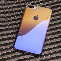 Wholesale Blue Ray Pc - Armor Case For iPhone X 8 7 Plus Gradient Blue Ray Color Hard Full Cover PC Phone Case For Samsung Note 8 A