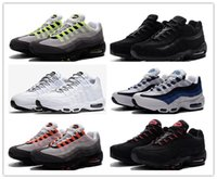 Wholesale cheap neon - New Cheap Mens air sports 95 running shoes,Premium OG Neon Cool Grey sporting shoes sneakers size 40-45