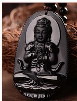 siyah yeşim taş kolye toptan satış-Buda Kolye Doğal obsidyen Vintage Kolye Siyah Buda Baş Kolye kadınlarda Yeşim Takı