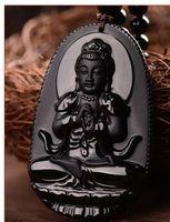 black buddha pendants großhandel-Buddha Anhänger natürlichen Obsidian Vintage Halskette schwarz Buddha Kopf Anhänger für Frauen Jade Schmuck