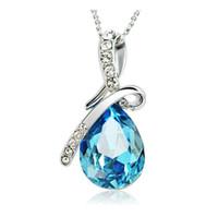 amethyst anhänger herz großhandel-Halsketten 925 Sterling Silber Überzogene Blaue Kristall Edelstein Amethyst Herz Anhänger Halsketten