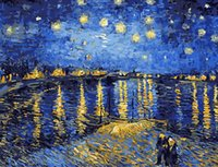 Wholesale Christmas Oil Pictures - Best Pictures DIY Digital Oil Painting Paint By Numbers Christmas Birthday Unique Gift Van gogh starry sky of the rhone river