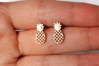 Wholesale Crystal Fruit Plate - 30Pair- S047 Cute Tiny Pineapple Earrings Lovely Ananas Earrings Simple Funny Outline Fruit Stud Earrings for Women Minimalist