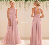 Wholesale Garden Bridesmaids Dresses - Blush 2017 Cheap A Line Lace Chiffon Bridesmaid Dresses A Line High Neck Backless Long Summer Beach Garden Wedding Guest Evening Party Gowns