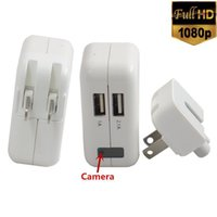 Wholesale Power Adapter Hidden Camera - 1080P HD Spy Hidden Camera AC Power Adapter Motion Detection Wall Charger Video Recorder DVR Cam White