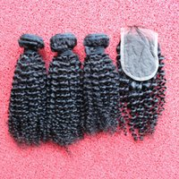 Wholesale Kinky Curl Hair 4pcs - 4pcs lot Top Quality! #1b kinky curls virgin malaysian hair bundles with 4x4 lace closure with baby hair