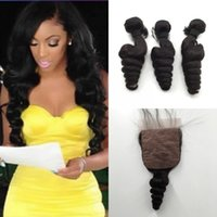 Wholesale malaysian loose wave silk base closure for sale - Group buy Silk Base Closure with Bundles Peruvian Indian Malaysian Brazilian Hair Bundles Unprocessed Remy Loose Wave Virgin Hair Extensions