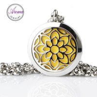 "Wholesale Aroma Necklaces - Aroma Jewelry 316L Stainless Steel Perfume Pendant With 24"" Chain and 6 Washable Pads Aromatherap Essential Oil Diffuser Locket Pendant A-61"