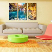 Wholesale Water Mountain Painting - 3 Picture Combination Wall Art Turquoise Water and Sunny Beams in Plitvice Lakes National Park Croatia Landscape Mountain & Lake