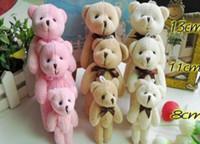 Wholesale Toys Bear Biggest - Kawaii BIGGEST 13CM Joint Bowtie Teddy Bear Plush TOY DOLL ; 3Colors Plush Stuffed TOY Wedding Gift Bouquet Decor DOLL TOY