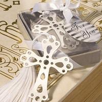 marcador cruzado do casamento venda por atacado-Favores do casamento presentes em aço inoxidável recorte Cruz Bookmark com borla Baby Shower souvenir bookmark + DHL Frete Grátis