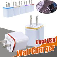 Wholesale Dual Ipad Dock - Metal Dual USB Wall Charger Travel Charging USB US EU Plug Universal Home AC Power Adapter 2 Ports For iPhone X 8 Samsung S8 Plus iPad