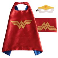 Wholesale Dress Up Costumes For Kids - Kids Superhero Capes and Masks Wonder woman Captain America for Kids' Halloween Birthday Dress UP Party