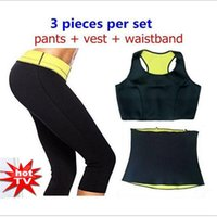 Wholesale Slimming Bodysuits - Wholesale-( Pants + vest + waistband ) Hot Shaper Selling Super Stretch Neoprene Shapers Sports Clothing Set Women's Slimming Sets