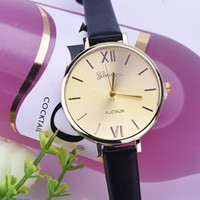 Wholesale Easy Read Watch - 2016 Hot Selling Easy To Read Geneva Watch Women PU Leather Female Watches Analog Quartz Watch Women Dames Horloges