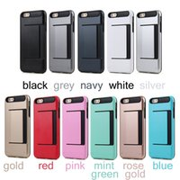 Wholesale Plastic Clip Holders - Clip Card Slot Storage Holder Cases For Iphone X 7 6S 6 Plus 5S 5 SE Brushed Armor Case Plastic + Silicone Cover for samsung s6 s7 note8