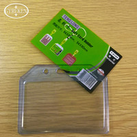 Wholesale Id Badge Holders Pvc - 7 Candy Colors PVC Clear Soft Name Credit Card Holders Bank Card Neck Strap Card Bus ID holders Identity badge lanyard