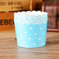 Wholesale Cheap Blue Cupcake Holders - Blue heart cupcake case, muffin paper cups tin liners, cheap cupcakes boxes holder supplies