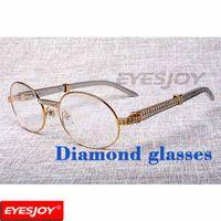Wholesale gold metallic shorts - Stainless Steel Luxury Diamond Reading Glasses Fashion Mens Metallic Eyewear Frame Designer Brand Men Myopic Glasses Clear Lens with Box