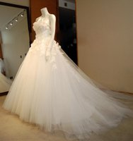 Wholesale Strapless Tulle Bridal Dresses - 3D Floral Strapless Wedding Dresses 2017 A Line Sweep Train Tulle Lace Up Bridal Gowns Plus Size Custom Made Wedding Dress SA2