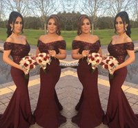Wholesale Short Sleeve Satin Wedding Dress - Burgundy Sparkly Sequins Off Shoulder Long Bridesmaid Dresses with Short Sleeve Mermaid 2016 Arabic Formal Wedding Guest Gowns Evening Dress