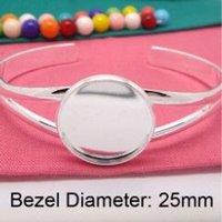 Wholesale Silver Plated Bezel Bracelet Blanks - Wholesale Fashion Silver plated Cuff Bracelet Blanks,Round Bezel Bracelet Trays, Bracelet Blanks for Jewelry DIY Bracelet Trays