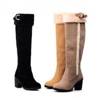 cargadores femeninos de la nieve del invierno al por mayor-Recién llegado de otoño invierno mujer caliente todo fósforo botas de nieve Mujeres de alta calidad gamuza caballero botas femenino al aire libre cálido botas hasta el muslo