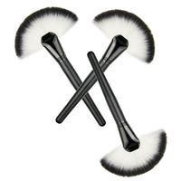 Wholesale Using Fan Brush - Black handle fan brush big blush brush use to sweep powder fiber wool blending brush free shipping