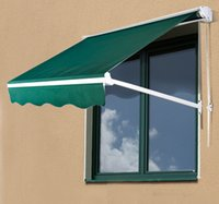 Wholesale Door Window Awning - 4FT Drop Manual Retractable Window Awning Door Canopy Shelter Shade Cover Green