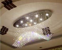Wholesale Curtain Light Chandelier Crystal - Factory price!!!oval curtain wave modern chandeliers crystal lamp living room lamp hotel lighting size:L750*W300*H650mm