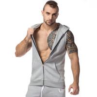 Wholesale T Shirt Vest Zipper - Gym Clothing Bodybuilding Fitness Tank Top Gym Gorilla Wear Vest Stringer Sport Undershirt Hooded Men's Sleeveless T-shirt Running Training
