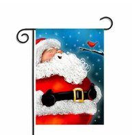 Wholesale Christmas Hanging Outdoor Snowflakes - Christmas Garden Flags Santa Claus Reindeer Snowman Garden Flag Indoor Outdoor Home Décor Snowflake Party Hanging Flag 30*45cm KKA2352