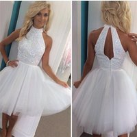 Wholesale Sweet Little Sequins - Sweet Beaded Tulle Short Homecoming Party Dresses 2017 Jewel Neck Keyhole Crystal White Backless Prom Dress