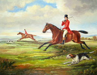 Wholesale Horse Portrait Oil Painting - Male Portrait Count Horseman on red Horse with Dog,Pure Handpainted Art oil painting On High Quality Canvas Home Decor size can customized