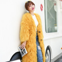 Wholesale Genuine Curly real lamb fur long coat curly long hair mongolian sheep fur coat yellow Tibet sheepskin fur coat for winter