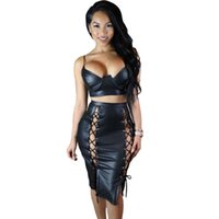 Wholesale Lace Top Solid Pencil Dress - Black Leather Lux Spaghetti Strap Bustier Crop Top And Lacing Up Pencil Skirt Set Sexy 2016 Club faldas midi dress