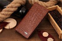 telefon cüzdanı çantası erkek toptan satış-Yeni Erkekler Erkekler için Timsah Cüzdan Hakiki Deri Cüzdan Telefon Kılıfları Gent Deri Erkek Cüzdan Deri Çantalar Carteira Masculina