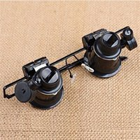 Wholesale Dental Glasses Magnifying Light - 20X Watch Repair Dental Loupes Binocular Glasses Magnifying Glass With LED Lights Eyewear Magnifiers with Box packing F587