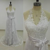 Wholesale Plus Size Halter Wedding - Real Halter Lace Beach Wedding Dress Sleeveless Beaded Appliques Mermaid Wedding Dresses Bridal Gowns Sweep Train Removable Sash Custom Made