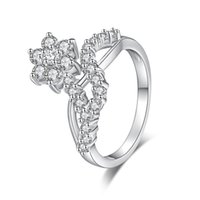 Wholesale Jewelry Ring Images - 3Pcs Lot Hot Flower Image Charm White CZ Silver Rings For Engagement New Fashion Trendy Jewelry