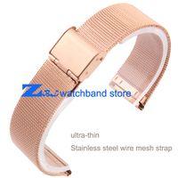 Wholesale Wholesale Rose Gold Mesh Bracelets - Wholesale-Rose Gold Milan mesh Stainless steel Bracelet Watchband ultra-thin Mesh strap width10mm 12mm 14mm 16mm 18mm 20mm 22mm 24mm