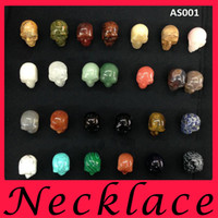 Wholesale Black Bead Skull Necklace - fashion jewelry Can be equipped with rope chain DIY 33mm Big human skull Natural stone pendant Loose Beads charm mens bracelets necklace