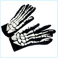Wholesale Teenage Clothes For Wholesale - Halloween Cosplay Gloves Matches Ghost Clothing Terrorist Skeleton Ghost Gloves Elastic Skeleton Gloves For Halloween COS Props
