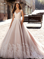 Wholesale Lace Bodice Princess Wedding Dress - Nude Pink Princess Ball Gown Wedding Dresses Illusion Round Neckline Sheer V-neck Lace Embellished Back Gorgeous Bodice Bridal Gowns 2016