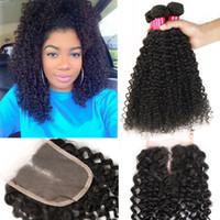 Wholesale Curly Brazilian Remy Hair Closure - Lace Closure With Brazilian Hair Bundles Deep Curly Remy Human Hair Weave Unprocessed Virgin Hair Indian Malaysian Peruvian Extensions