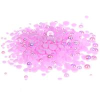 Wholesale Purple Pearl Flatback - Light Purple AB Half Round Pearls 1000 500pcs 2-5mm And Mixed Sizes Imitation Flatback Glue On Resin Beads DIY Crafts Garments Supplies